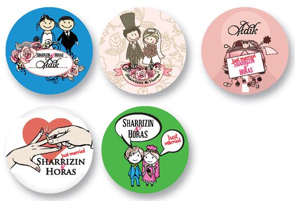 Wedding sample design button badge